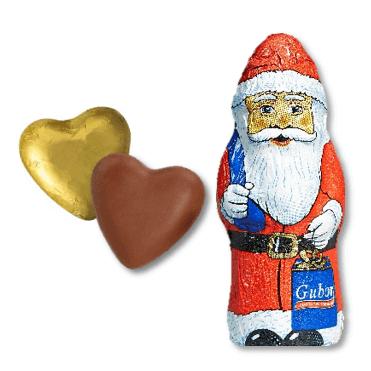 Gubor Schokoladenherzen & Gubor Weihnachtsmann, ca. 6 Monate haltbar, Inhalt: 22 Herzen + 1 Weihnachtsmann