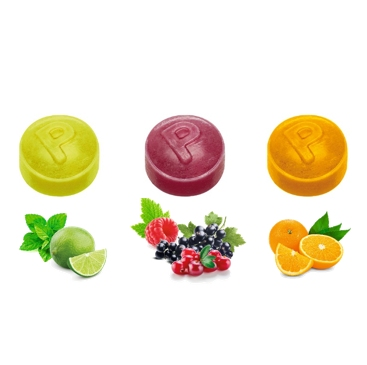 Pulmoll Pastilles, (lime-mint, orange-cardamom, berry mix with acai) sugar free, best before 18 months