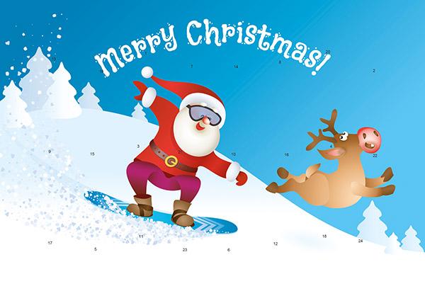 Snowboarder Weihnachtsmann M063